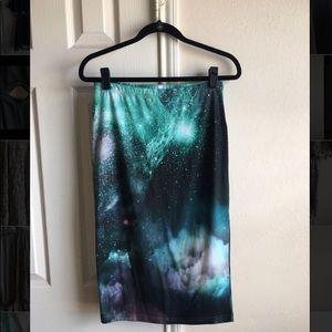 Topshop Galaxy Print Pencil Skirt
